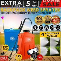 12V 20L Electric Weed Sprayer Rechargeable Backpack Farm Garden Pump Spray Pest
