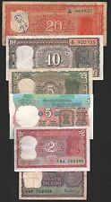indian old  currency  20 + 10 + 5 rs four deer +  5 +  2 + 1  rs six notes set