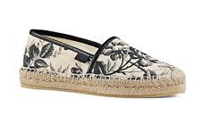 100%auth Gucci Pilar Floral Canvas Platform Espadrille Flats  sz 38.5 /8.5 US