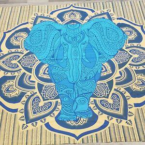 Wall Tapestry Elephant Mandala Indian Hippie Hanging Decor Bohemian Boho Blue