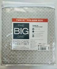 The Big One Easy Care Sheet Set Twin Xl Dorm Size College Cotton Blend Gray New