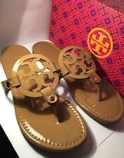 3a86de95691537 NEw Tory Burch Nude Patent Leather Miller Logo Sandals Size 8M—