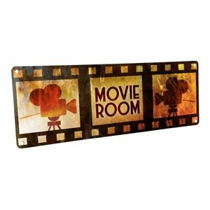 Movie Room Metal Sign; Wall Decor for Home Theater or Family Room