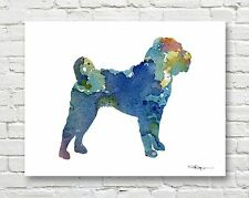SHAR PEI Abstract Contemporary Watercolor ART 11 x 14 Print by DJR