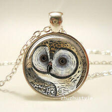 Vintage OWL Cabochon Tibetan silver Glass Chain Pendant Necklace