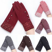US Women's Winter Warm Wedding Bridal Lace Gloves Outdoor Driving Skiing Mittens