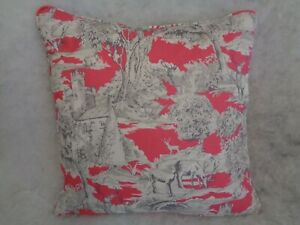 """NEW LISTING.MANOR TOILE RASPBERRY COLOURWAY BY CLARKE & CLARKE 22""""CUSHION COVER"""