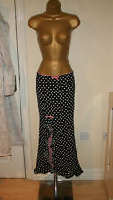 Wheels & Dollbaby Sexy Black Polka Dot Long Ruffled Split Skirt Sz 1 UK 8