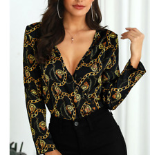 Chain Print V-Neck Long Sleeve Blouse (SIZE LARGE)