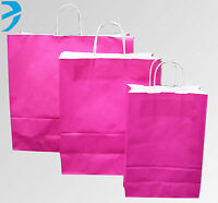 25x PAPER CARRIER BAGS TWISTED HANDLE HIGH QUALITY GIFT BOUTIQUE BAG PINK