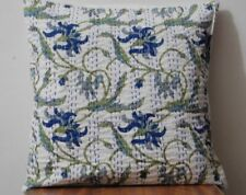 "16"" Indian Cushion Cover Pillow Case Kantha Work Ethnic Floral Boho Décor Art"