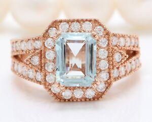 3.60 Carat Natural Blue Aquamarine and Diamonds in 14K Rose Gold Women's Ring