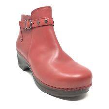 Women's Sanita Dakota Ankle Boots Booties Shoes Size 38 EU/7-7.5 Red Leather M4