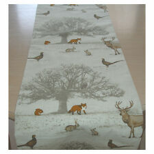 "Table Runner 180cm Brown Orange 72"" Tree Fox Squirrel Rabbit Pheasant Stags 6ft"