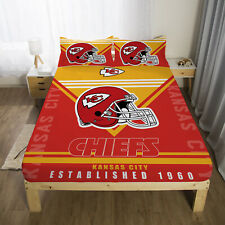 Kansas City Chiefs Bed Fitted Sheet Cover Fitted Sheet & Pillowcase Bedding set