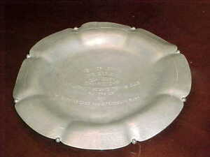 1930 New York State Women's Doubles Clay Court Championship Silver Tennis Plate