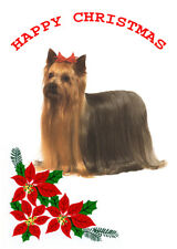 YORKSHIRE TERRIER SINGLE DOG PRINT GREETING CHRISTMAS CARD