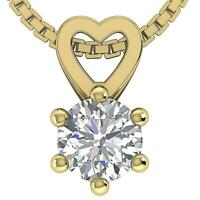 Solitaire Pendant Necklace Round Diamond SI1 G 0.50 Ct Prong Set 14K Solid Gold