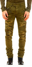$2100. NEW AUTHENTIC BALMAIN SKINNY DESTROYED BIKER KHAKI JEANS M/JAPAN SIZE 30