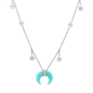 14K White Gold Turquoise Crescent Shaker Pendant Necklace Womens Round Cut Moon