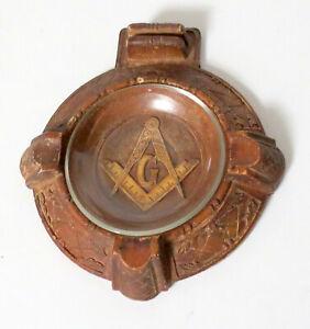 Vintage Genuine Burwood Ashtray Carved Free Mason's / Masonic Compass & Square