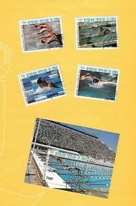 "KONGO 1987 - gestempelt°used - MiNr.1076-1079 + Block 41 ""Olympiade: Schwimmen"""