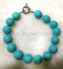 A+ 12mm Charming Turquoise Blue Sea Shell Pearl Bracelet 7.5''