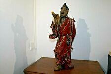 Magnifique Statue Bouddha  ancien en terre cuite émaillée signé