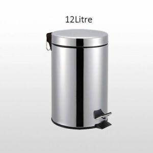 12L STAINLESS STEEL PEDAL BIN FOR KITCHEN BATHROOM TOILET