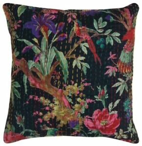 Indian Kantha Stitch Cushion Cover Pattern Pillow Case Bird Black 16X16 Cotton