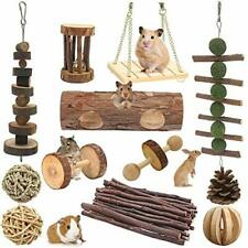 McFeddy Hamster Chew Toys 12 Pcs of Natural Wooden Small Animal Cage Accessories