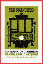 Bank of America 1958 Ad ~ Travelers Cheques Checks ~ SAN FRANCISCO CA Cable Car