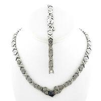 Stainless Steel Silver Tone I LOVE YOU Hugs & Kisses Set Necklace & Bracelet 18