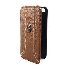 FF Collection Ferrari iPhone 5/5S SE Real Leather Flip Case Brown (FEFFFLBKP5KA)