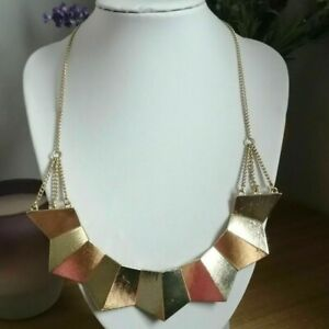 Retro Statement Ethnic Gold Tone Bar Costume Egyptian Revival Necklace