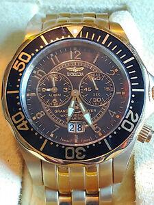 Invicta 3442 Swiss Quartz Gold Plated Grand Diver Black Dial 47mm BigDate Alarm
