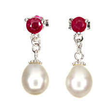 Round Red Ruby 4mm White Pearl 14k White Gold Plate 925 Sterling Silver Earrings