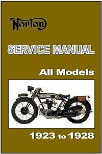 NORTON Workshop Manual All Models 1923 1924 1925 1926 1927 1928 Owners Service