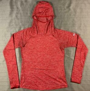 Women's Nike Dri-Fit Element L/S Hoodie Top in Red Heather Small thumb holes