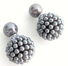 Gray Pearl Double Sided Earrings Bridal Bridesmaid Wedding Fashion Earrings