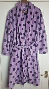 Next Ladies Blue/Purple Spots Dressing Morning Gown Bathrobe Robe Size L