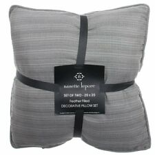 "Waterfowl Feather Filled Pillow Set of 2 Large Throw 20"" x 20"" Grey Gift NEW"