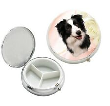 Border Collie Dog 3 Compartment Round Metal Pill Box by paws2print