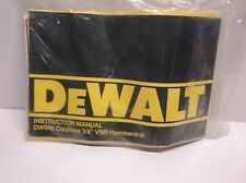 "Dewalt DW946 Cordless 3/8"" VSR Hammer Drill Instruction Manual"
