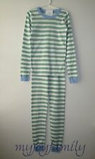 HANNA ANDERSSON Organic Long Johns Pajamas Trellis Green White Stripe 140 10 NWT