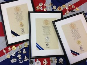 Oath of Allegiance British Army Corps (framed with Cap Badge)