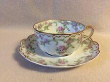 Vintage Theodore Haviland Burley & Co Cup & Saucer Set~Limoges Floral gold trim