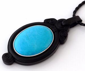 "Blue Turquoise Stone Pendant Natural Black Leather Necklace Handmade 3 1/16"""