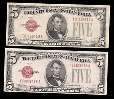 USA - 2 X 5 DOLLARS - RED SEAL - 1928C, F