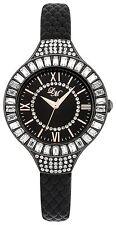 Little Mistress LM012 Ladies Stone Set Black Dial Black Strap Watch New